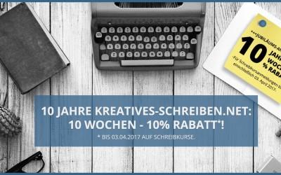 Jubiläums-Aktion: 10% Rabatt auf Schreibkurse