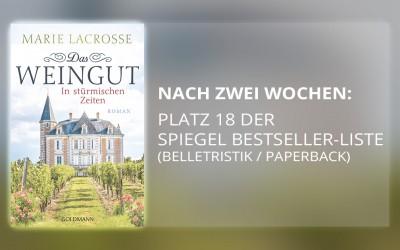 """Platz 18 Spiegel-Bestsellerliste: Marita Spangs """"Das Weingut: In stürmischen Zeiten"""""""
